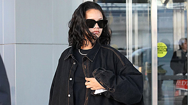 Rihanna Hides Her Curves In Oversized Double Denim Outfit In NYC …