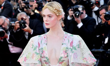 Elle Fanning Looks Like A Fairy Princess In Plunging Floral Gown …