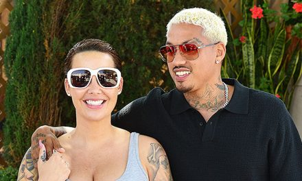 Amber Rose Cradles Her Giant Baby Bump During Romantic Lunch Date …